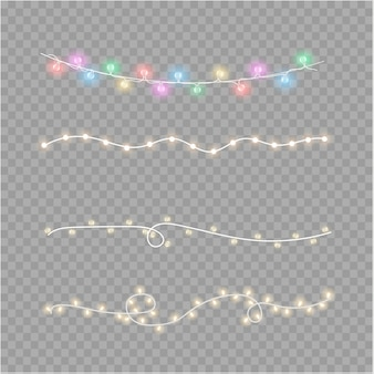 Kerstverlichting geïsoleerd op transparante achtergrond. kerstmis gloeiende slinger. vector illustratie