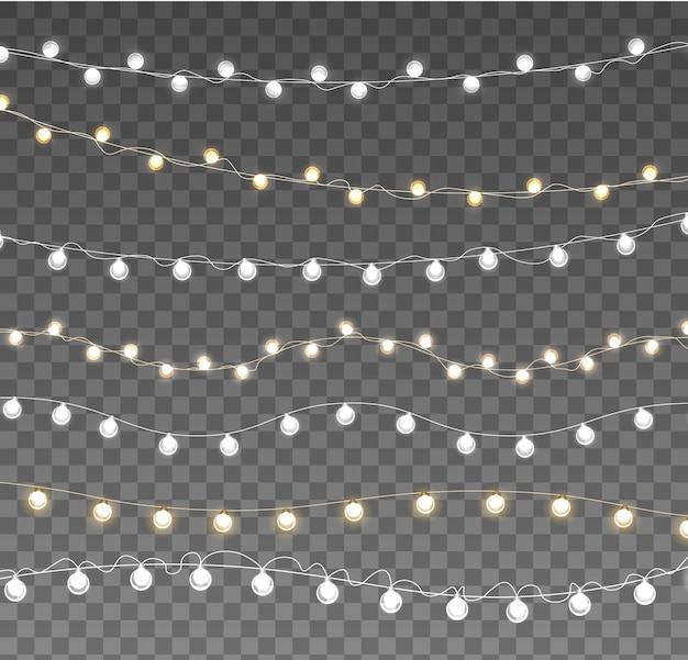 Kerstverlichting geïsoleerd op transparante achtergrond. set xmas gloeiende garland lamp. Premium Vector
