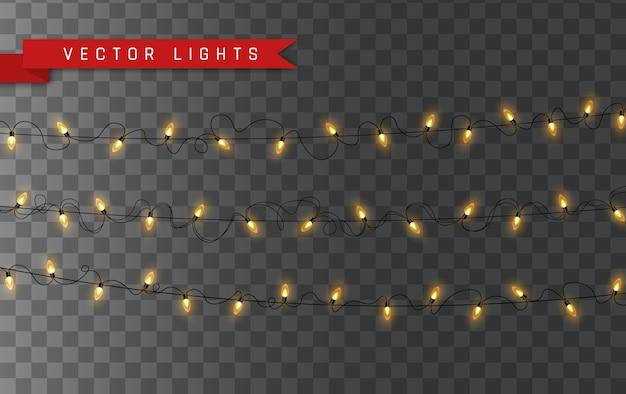 Kerstverlichting geïsoleerd op transparante achtergrond. set xmas gloeiende garland lamp.