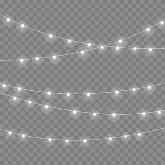 Kerstverlichting geïsoleerd op transparante achtergrond. slingers voor kaarten, banners, posters, webdesign. set van gouden kerst gloeiende slinger led neon lamp vector illustratie