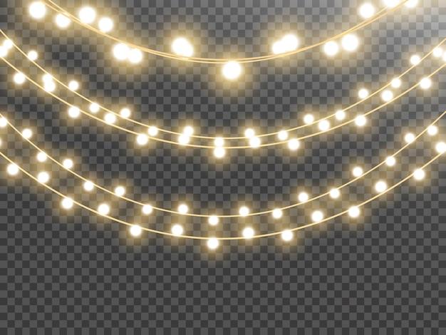 Kerstverlichting geïsoleerd op transparante achtergrond vectorillustratie