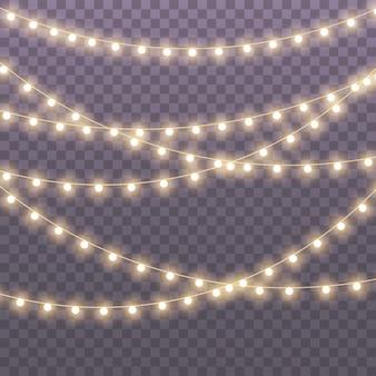 Kerstverlichting geïsoleerd op transparante achtergrond voor kaarten banners posters webdesign set van gouden kerst gloeiende garland led neon lamp illustratie