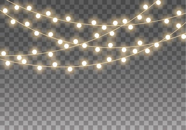 Kerstverlichting geïsoleerd op transparante achtergrond voor kaarten, banners, posters, webdesign. set van gouden xmas gloeiende garland led neon lamp illustratie