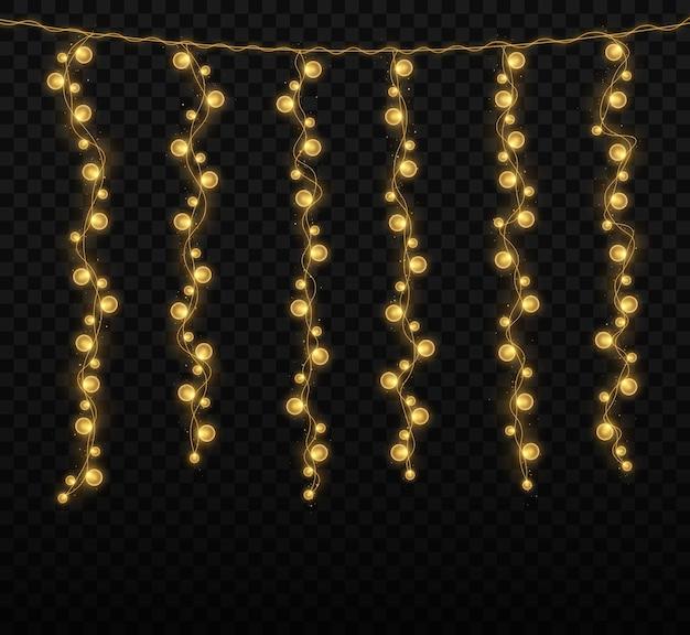 Kerstverlichting geïsoleerd op transparante achtergrond voor kaarten banners posters