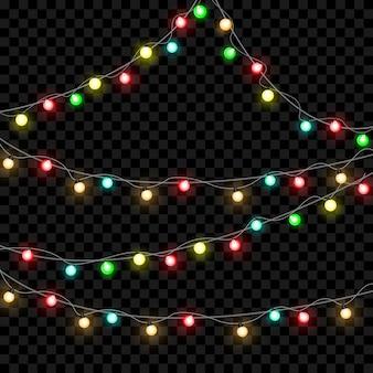 Kerstverlichting geïsoleerd op transparante achtergrond. xmas gloeiende slinger.