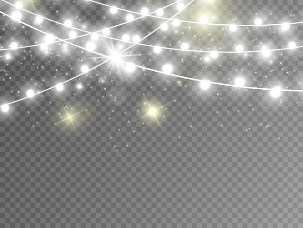 Kerstverlichting geïsoleerd op transparante achtergrond