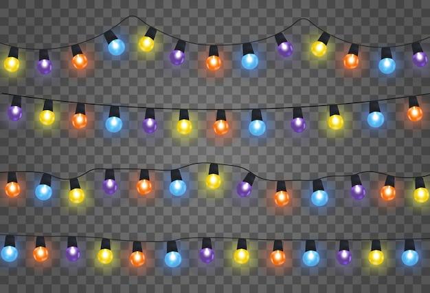 Kerstverlichting geïsoleerd realistische ontwerpelementen. slingers met gekleurde bollen.