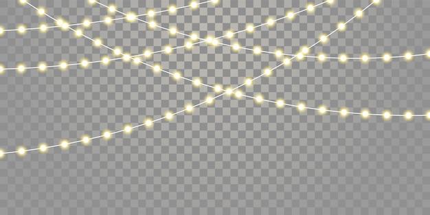 Kerstverlichting geïsoleerde snaren. vakantie feest xmas, verjaardag of festival lamplichten