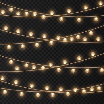 Kerstverlichting heldere gouden slinger gloeiende bollen voor kerstkaarten