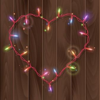 Kerstverlichting in hartvorm