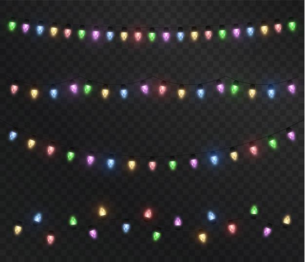 Kerstverlichting kleurrijke kerstslinger feestelijk geïsoleerd decoratie-element
