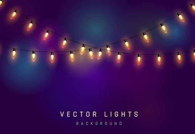 Kerstverlichting op paarse abstracte bokeh achtergrond Premium Vector