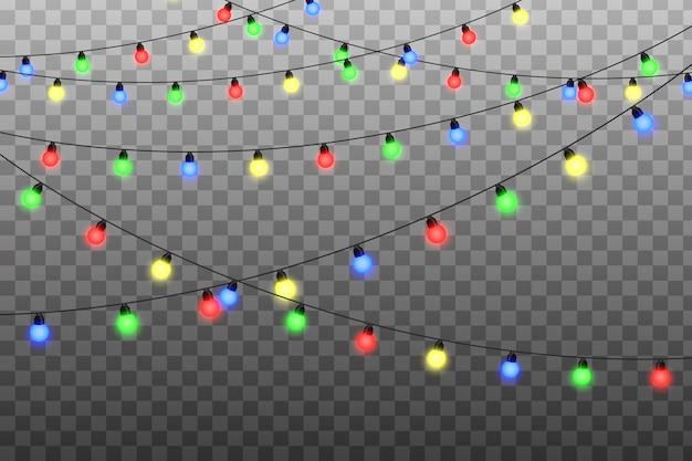 Kerstverlichting realistische elementen. kerst licht. string met gloeiende gloeilampen.