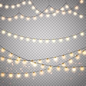 Kerstverlichting set. vector nieuwjaar versieren slinger met gloeiende gloeilampen.