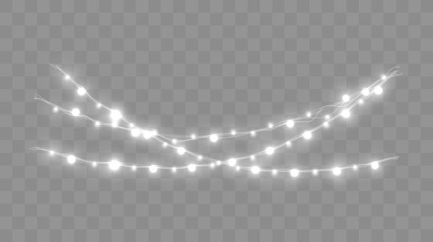 Kerstverlichting set vector nieuwjaar versiert slinger met gloeiende gloeilampen
