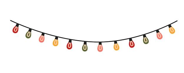 Kerstverlichting slinger. kleurrijke kerstverlichting. decoratief vectorelement