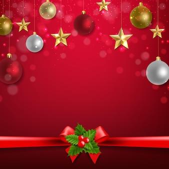 Kerstversiering, gouden en rode sterren en ballen illustratie