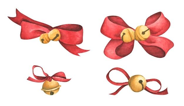 Kerstversiering rode linten en bellen aquarel illustratie