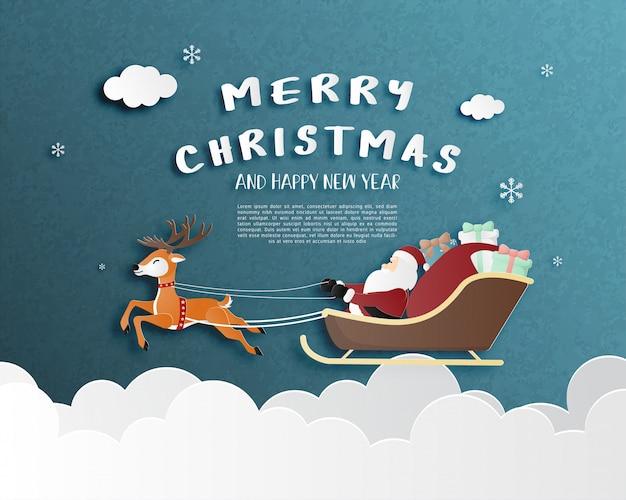 Kerstviering achtergrond met santa claus in papier gesneden stijl