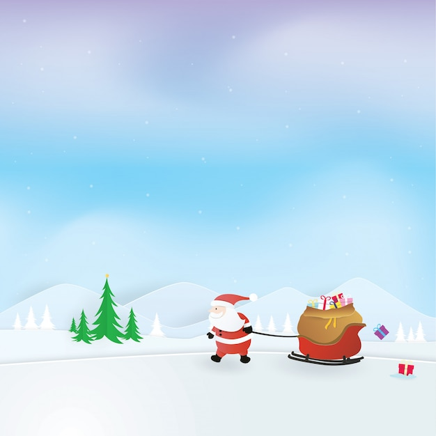 Kerstvieringen, gelukkig nieuwjaar, kerstman die een sleehoogtepunt van cadeaus, ambachtvector, ontwerp trekt