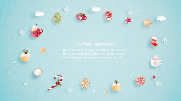 Kerstvieringen met schattige kerstkoekjes voor kerstkaart in papier gesneden stijl.