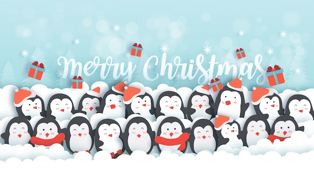 Kerstvieringen met schattige pinguïns in de sneeuw bos banner