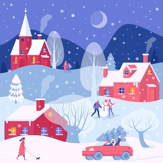Kerstvoorbereidingen. mannen en vrouwen lopen buiten kerst winteractiviteiten op de achtergrond van de oude stadsgebouwen.