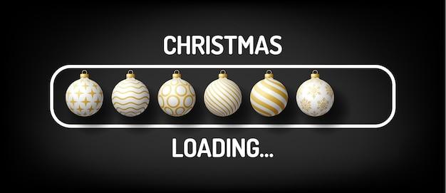 Kerstvoortgangsbalk met inscriptie - kerst laden en versierde bal in realistische stijl. vectorillustratieontwerp, poster, wenskaart, nieuwjaarsdecoratie