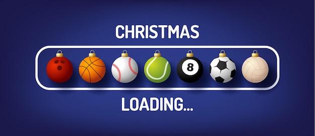 Kerstvoortgangsbalk met sportbal - kerst laden en sportbal in realistische stijl. vector illustratie ontwerp, poster, wenskaart, nieuwjaarsdecoratie. voetbal, voetbal, basketbal