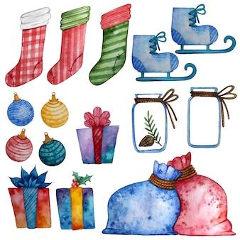 Kerstwaterverfset met sokken, cadeaus en schaatsen.