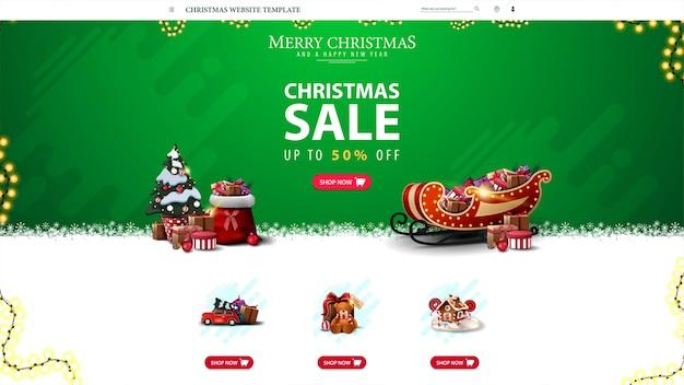Kerstwebsitesjabloon met kortingsaanbieding, green christmas-websiteontwerp voor uw creativiteit