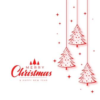 Kerstwensen kaart met boom in lijnstijl
