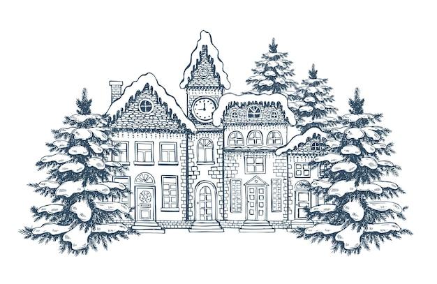 Kerstwenskaart illustratie van huizen set handgetekende gebouwen