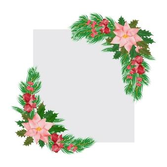 Kerstwenskaart met aquarel bloemenframe voor uitnodigingskaarten en afbeeldingen