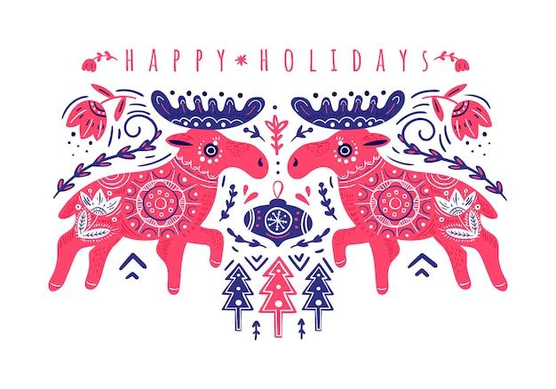 Kerstwenskaart met eland fijne feestdagen vector kerstkaart folklore-stijl