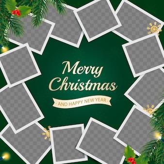 Kerstwenskaart met fotolijsten en realistische decoratie