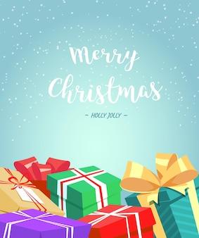 Kerstwenskaart met geschenkdozen cartoon vectorillustratie