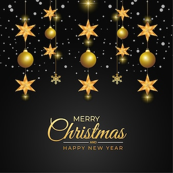Kerstwenskaart met gouden bal en gouden ster zwarte achtergrond