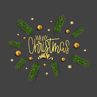 Kerstwenskaart met kalligrafische letters en kerstversiering. pijnboomtakken, sterren, gouden ballen