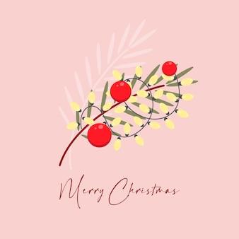 Kerstwenskaart met kerstboomtakken, slingers en decoraties trouw met kerstmis