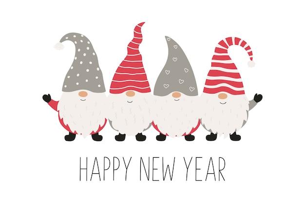 Kerstwenskaart met kerstkabouters. vectorillustratie geïsoleerd op een witte achtergrond.