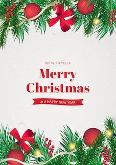 Kerstwenskaart met realistische decoratie