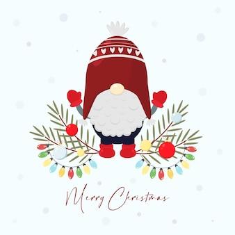 Kerstwenskaart met scandinavische kabouter illustraties van noordse folklore kerstdwerg