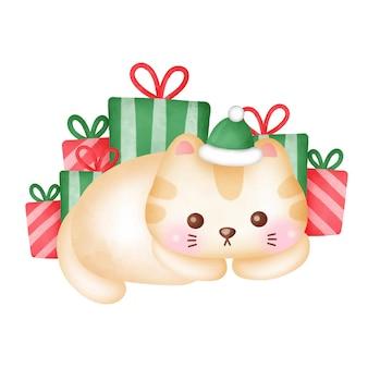 Kerstwenskaart met schattige kat en geschenkdozen in aquarelstijl.