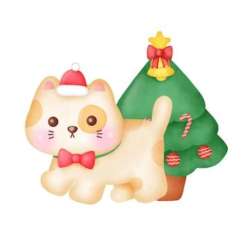 Kerstwenskaart met schattige katten en kerstboom in aquarelstijl.