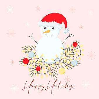 Kerstwenskaart met sneeuwpop kerstboom takken en slinger fijne feestdagen