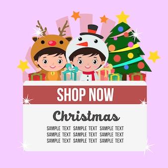 Kerstwinkel thema met kinderen rendieren en sneeuwpop