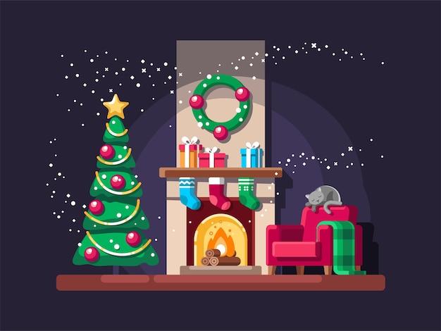 Kerstwoonkamer met boom, cadeautjes en open haard.