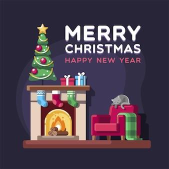Kerstwoonkamer met boomgiften en open haard.