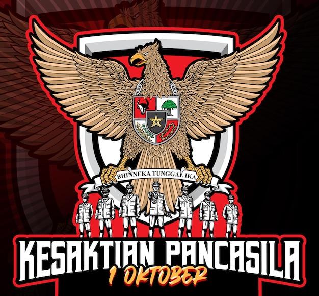 Kesaktian garuda pancasila indonesië 1 oktober illustratie